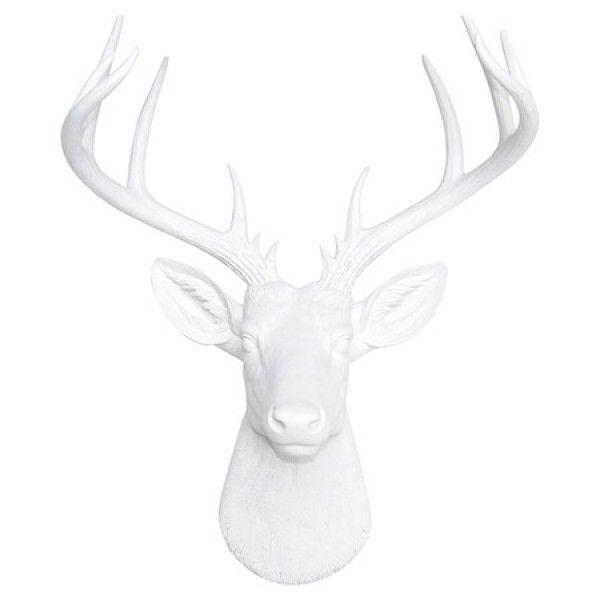 White Deer Head Decor - Unique Resin Stag Sculpture - Faux Deer Head ...