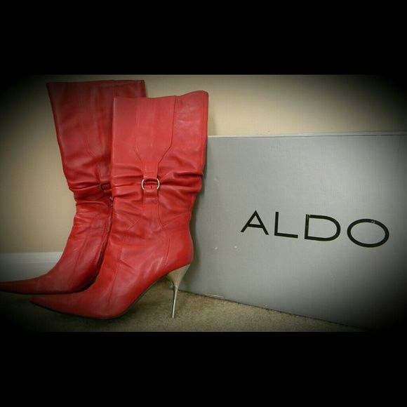 *FINAL CLEARANCE!!*   Leather Boots Red leather Aldo below the knee boots with silver spike heel! Fantastic boot for nights out.  Comfortable.  In good condition. Great bots for a steal of a price. ALDO Shoes