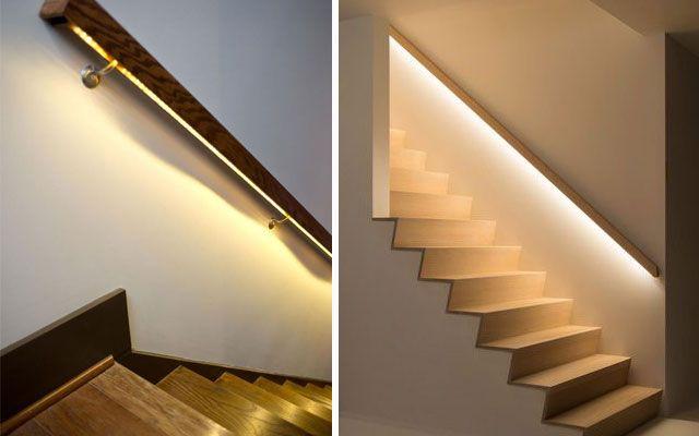 Ideas para decorar escaleras con luz decoraci n - Decorar pared escalera ...