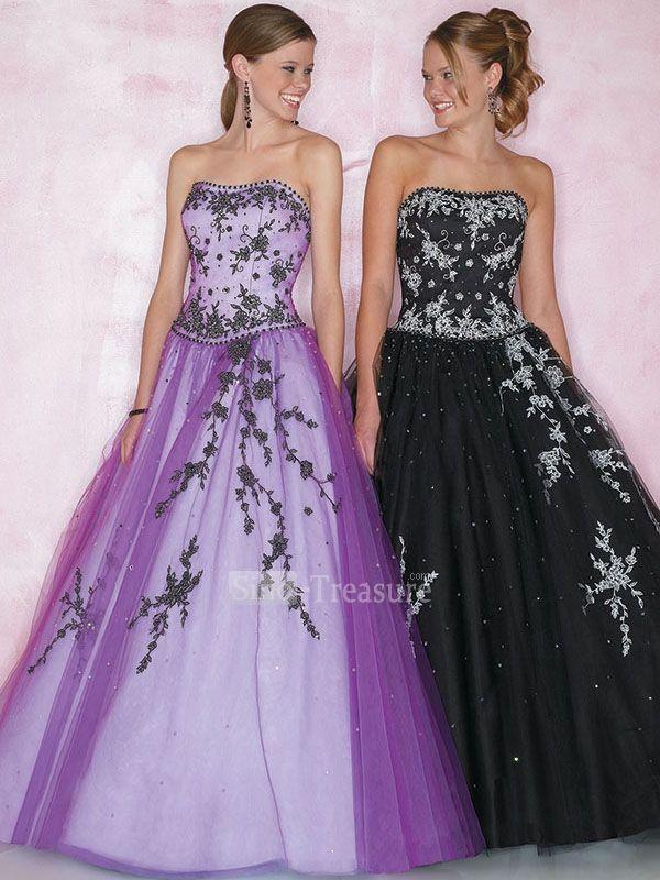 purpleblack strapless ballgown beadingapplique floor length ...