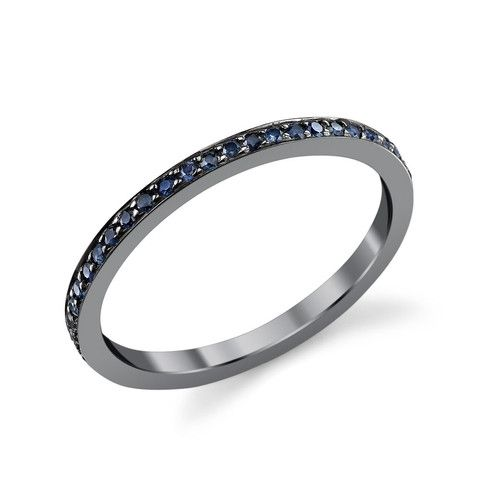 SAPPHIRE PAVE SQUARE WIRE RING BLACK RHODIUM PLATED - Carrie Hoffman Jewelry