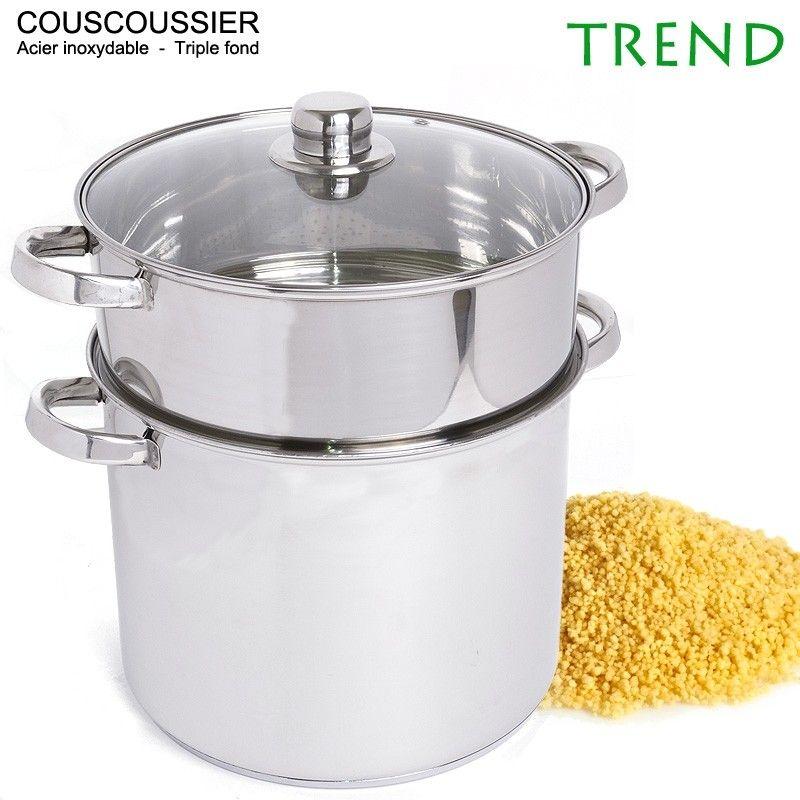 Couscoussier Trend 15L 28cm triple fond Inox | Cuisine - Batteries ...