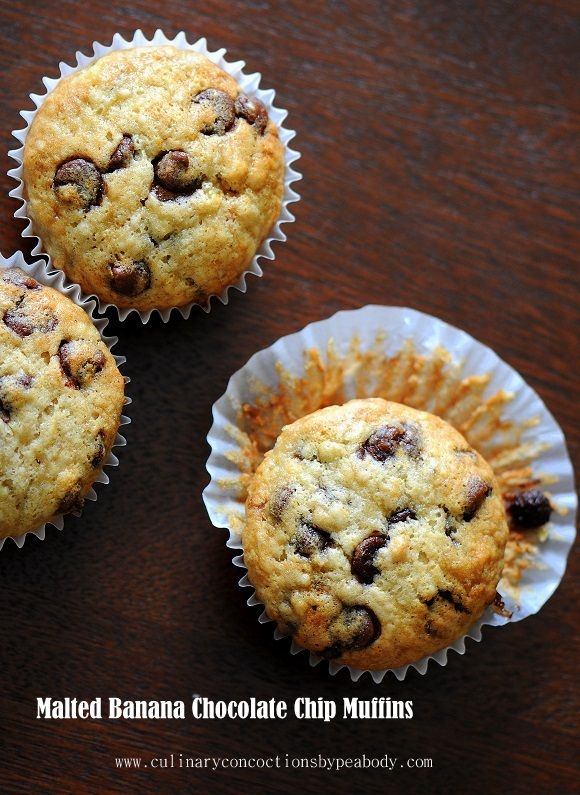 Malted Banana Chocolate Chip Muffins    From Culinary Concoctions by Peabody