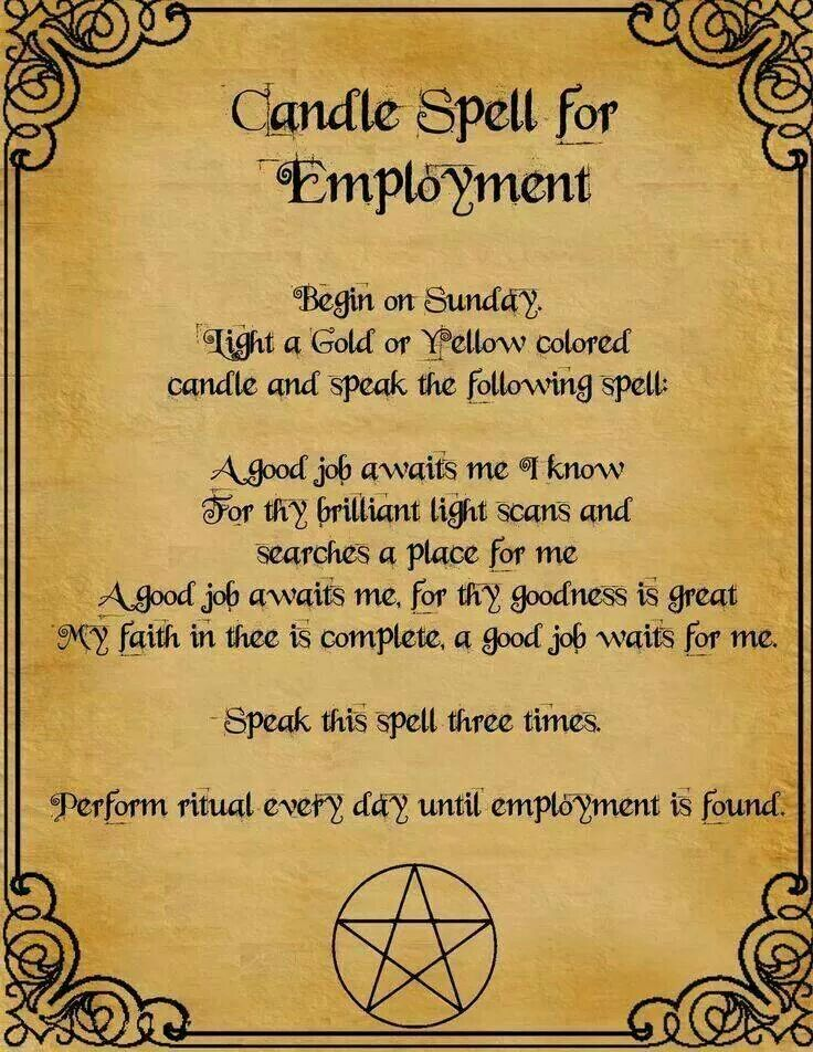 Job spell | Job spells | Candle spells, Witchcraft, Witch spell