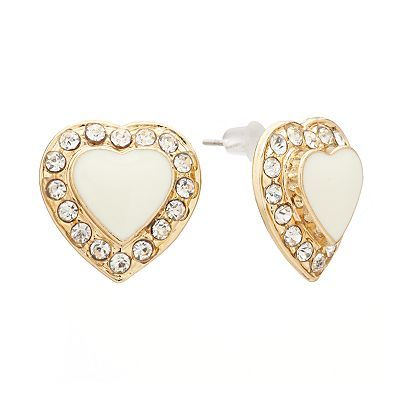 Candie's Gold Tone Simulated Crystal Heart Stud Earrings, $7.20
