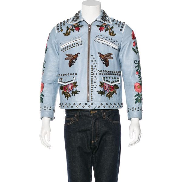 9bb9bbb5d Pre-owned Gucci Embroidered Leather Jacket ($5,500) ❤ liked on Polyvore  featuring men's fashion, men's clothing, men's outerwear, men's jackets,  blue, ...