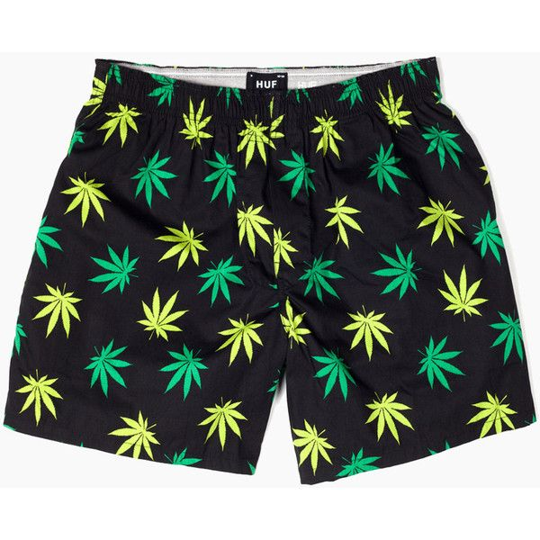 Huf Plantlife Boxer Shorts - Black/Green ($32) ❤ liked on Polyvore featuring