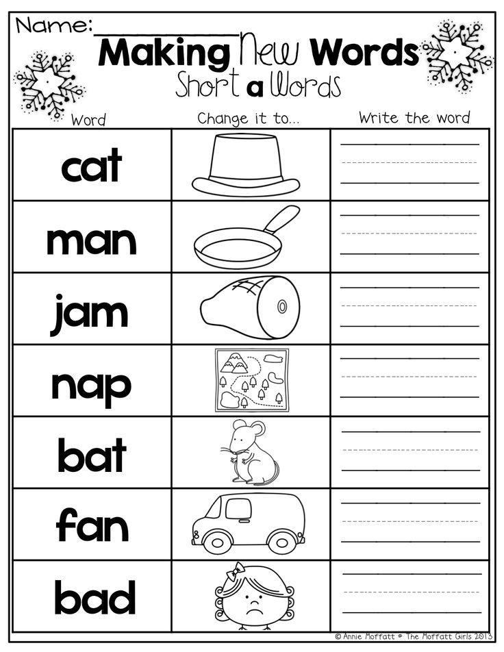 Make New Words By Changing The Beginning Sound Word Work Kindergarten Phonics Kindergarten Kindergarten Reading Making words kindergarten worksheets