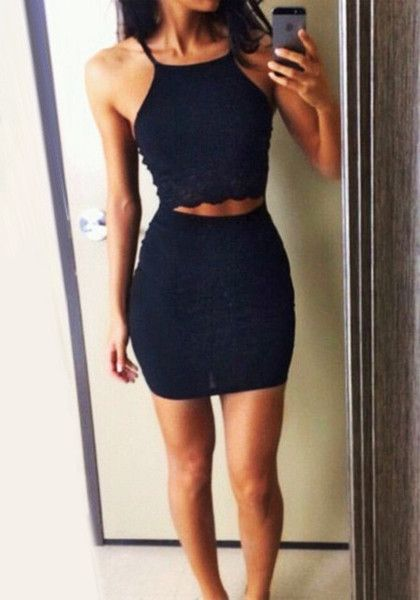Black Two-Piece Bodycon Dress - Strapless Two Piece Bodycon ...