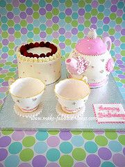 Tea party birthday! This would be neat if they styled it more like Alice in Wonderland. ;)