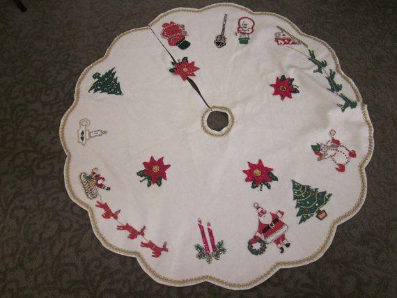 Beautiful Vintage Christmas Tree Skirt Felt Sequin Beaded. $59.00 ...