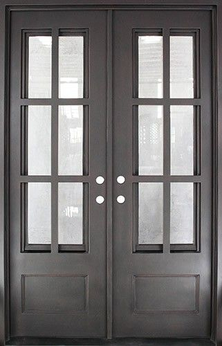 Discount 62 X 97 Tiffany Square Top Prehung Iron Double Door Unit Iron Doors Iron Front Door Doors