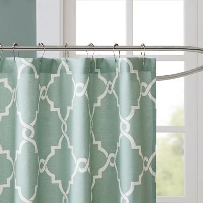 Sereno Geometric Fretwork Shower Curtain Seafoam Geometric