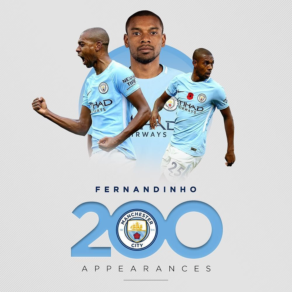 fernandinho is set to make his 200th appearance for City today! #mancity  #manchestercity #mcfc