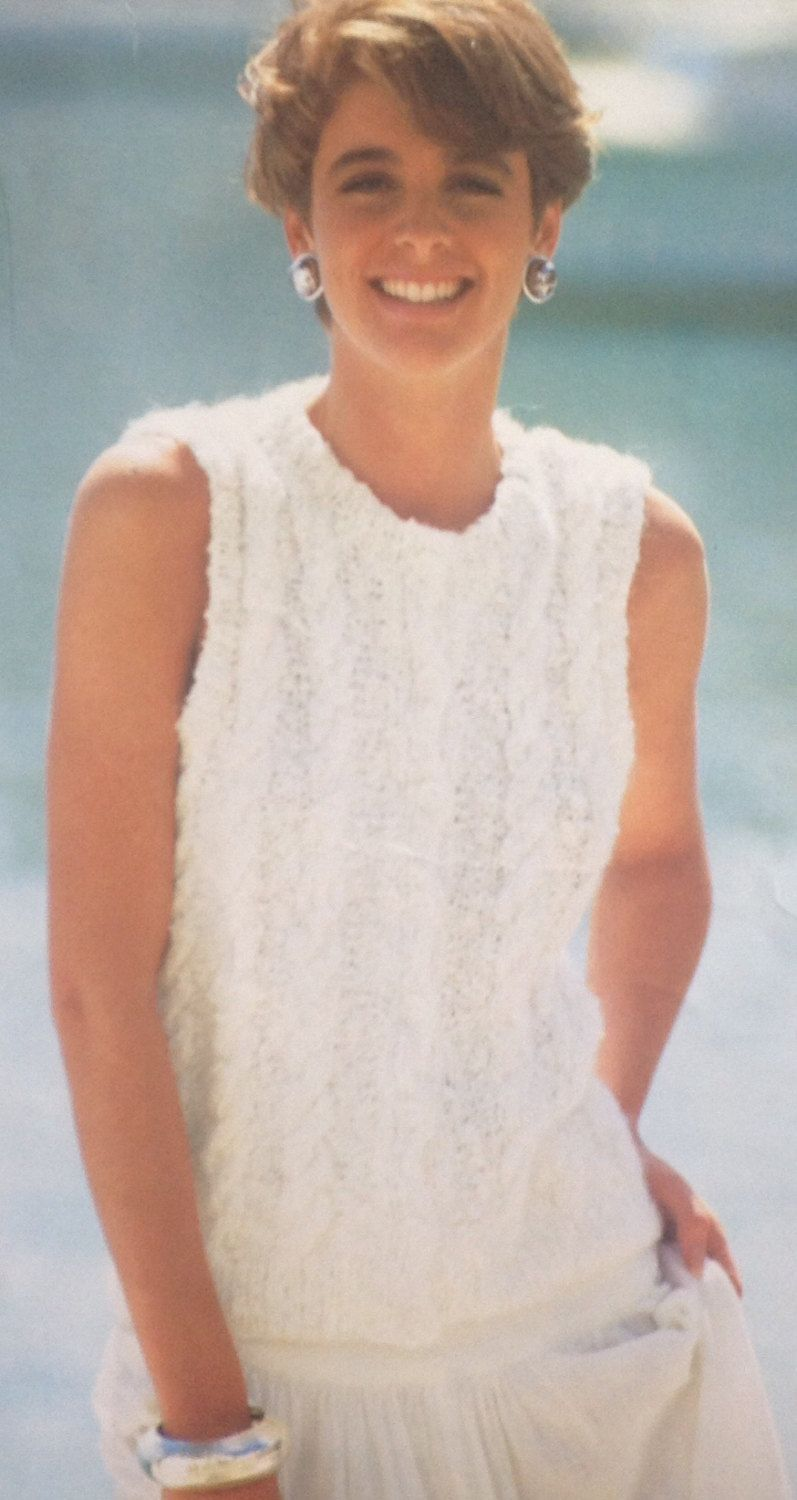c6c9ca37b180b6 Ladies Woman s Mohair Sleeveless Cable Cardigan Sweater Knitting Pattern  size 34-40in by makenshare on Etsy