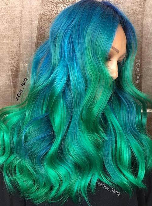50 Bold Pastel and Neon Hair Colors in Balayage an
