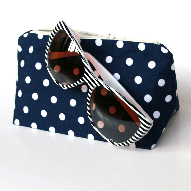 Cosmetic Bag in Navy & White Polka Dot by JordaniSarreal