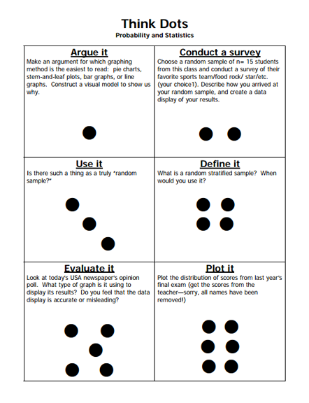 HereS A Think Dots Menu For Probability And Statistics  Math
