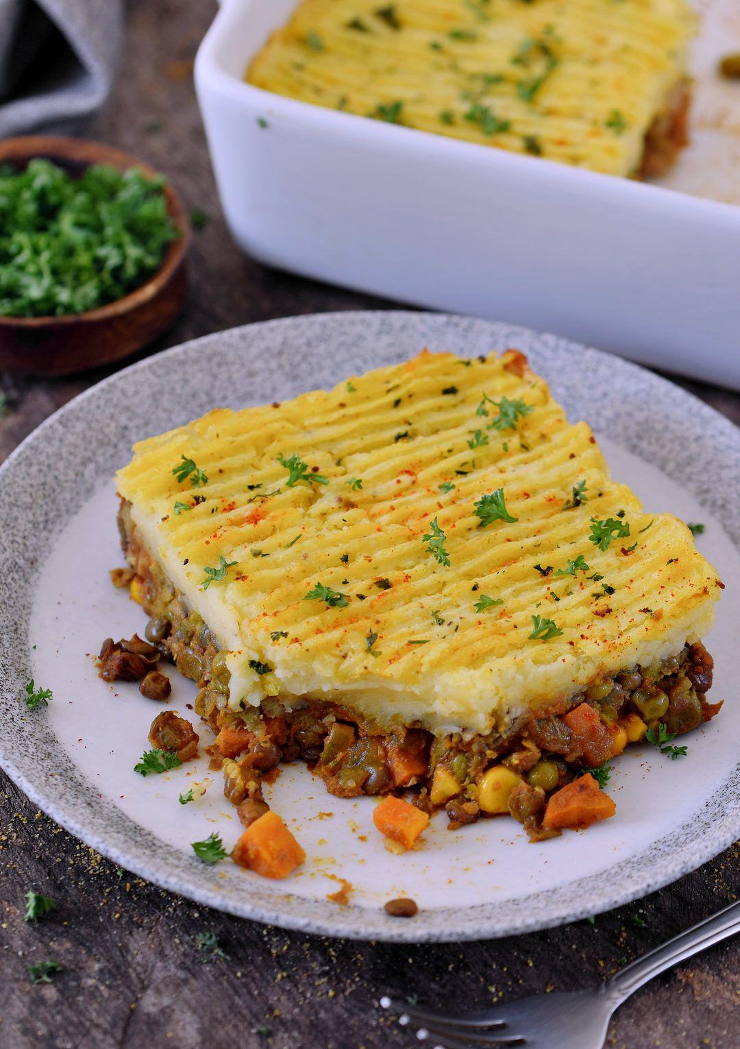 Veganer Shepherd's Pie mit Linsenfüllung (glutenfrei) - Elavegan