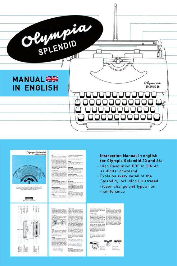 Olympia Splendid - Instruction Manual