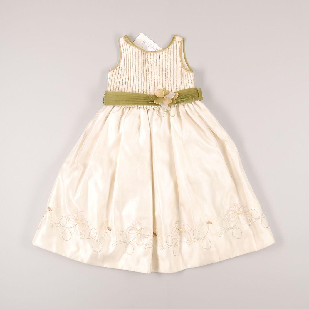Vestido de ceremonia con flor verde de marca Amaya. Talla 4 años. 22,50€ http://www.quiquilo.es/catalogo-ropa-segunda-mano/vestido-de-ceremonia-con-flor-verde-de-marca-amaya-en-color-beige.html