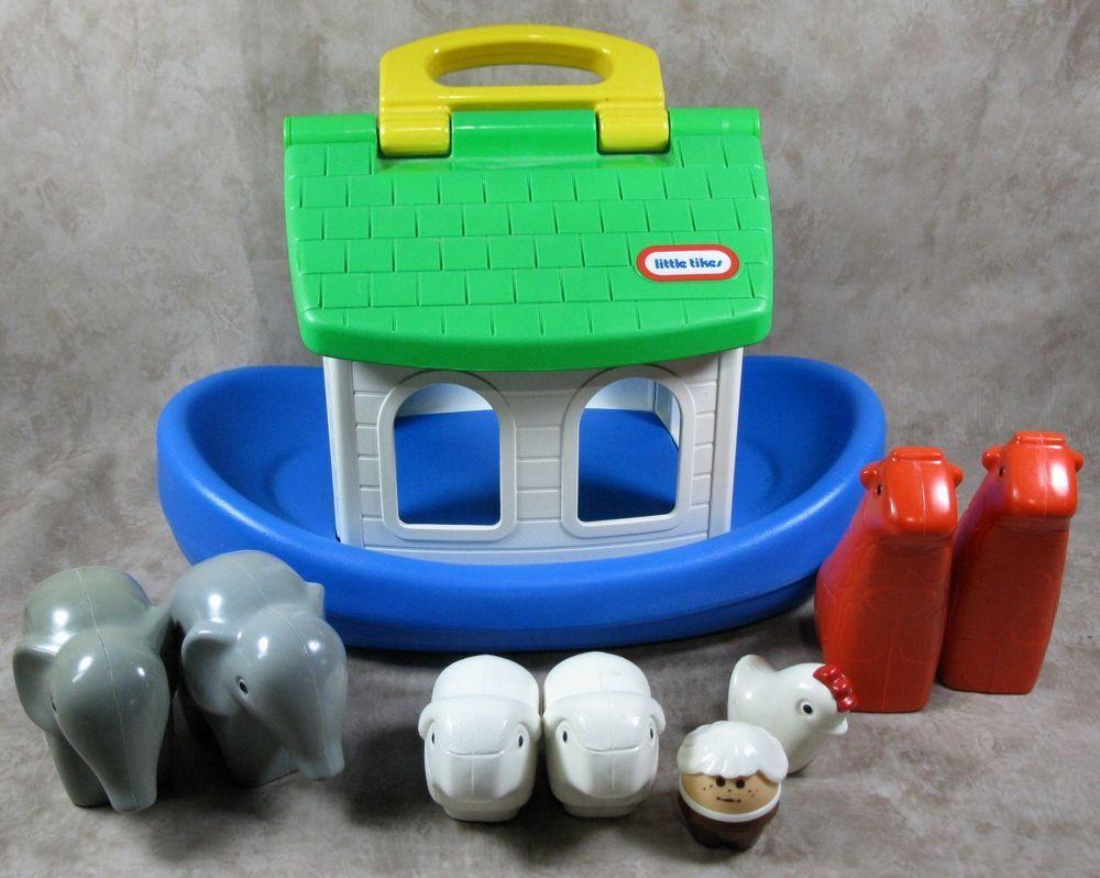 Vintage Little Tikes Noahs Ark Toddler Bath Toys Boat Animals ...