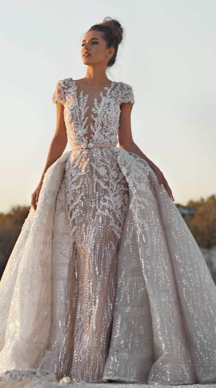 MIRIAMS Bride Atelier -  wedding dresses 2019 - Short sleeves wedding dress heavy embellishment detachable skirt  #weddingdress #weddinggown #weddingdresses