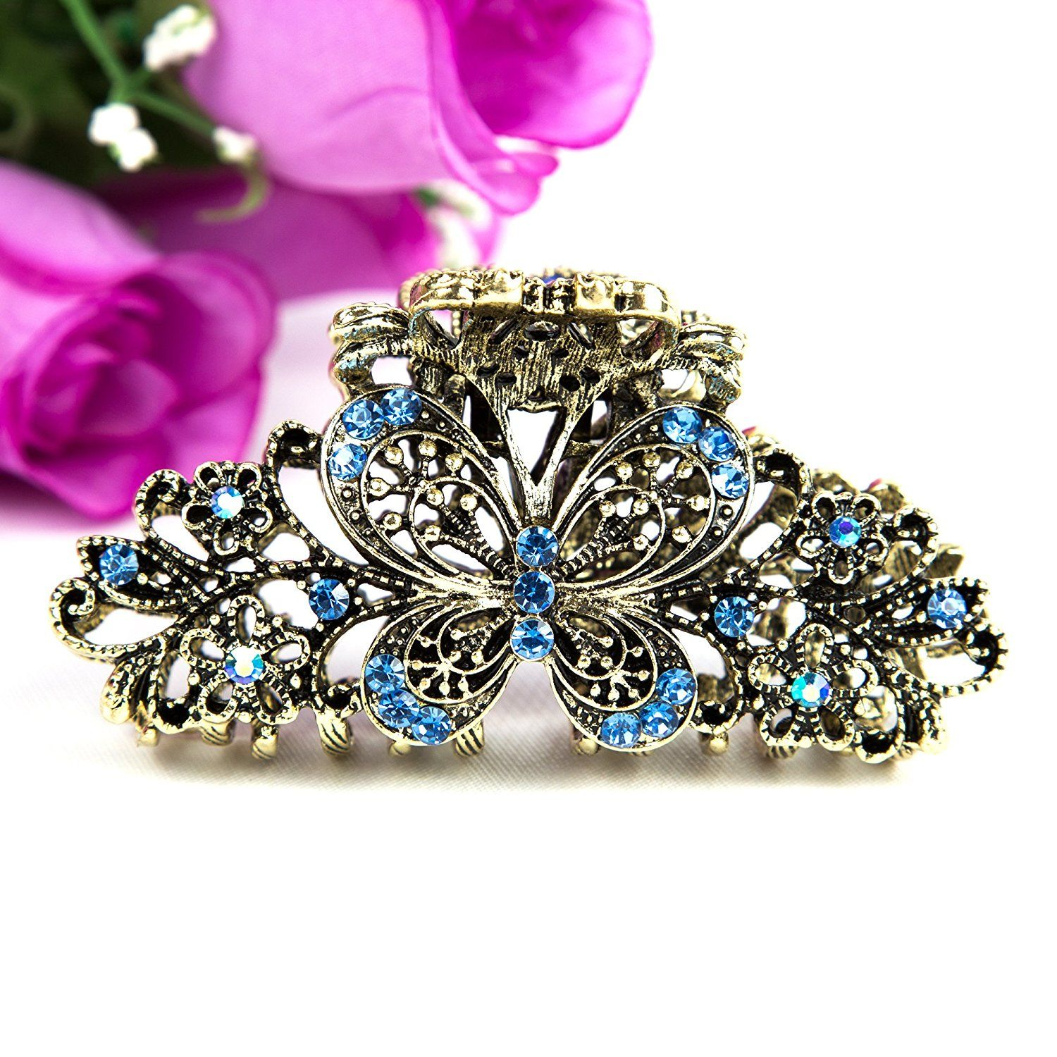 Beuautyxyz Blue color Crystal Butterfly/flower Hair Claw Clip Pin * Visit the image link for more details. #hairdo