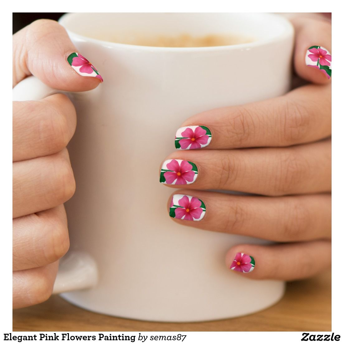 Elegant Pink Flowers Painting Minx Nail Art | Zazzle.com