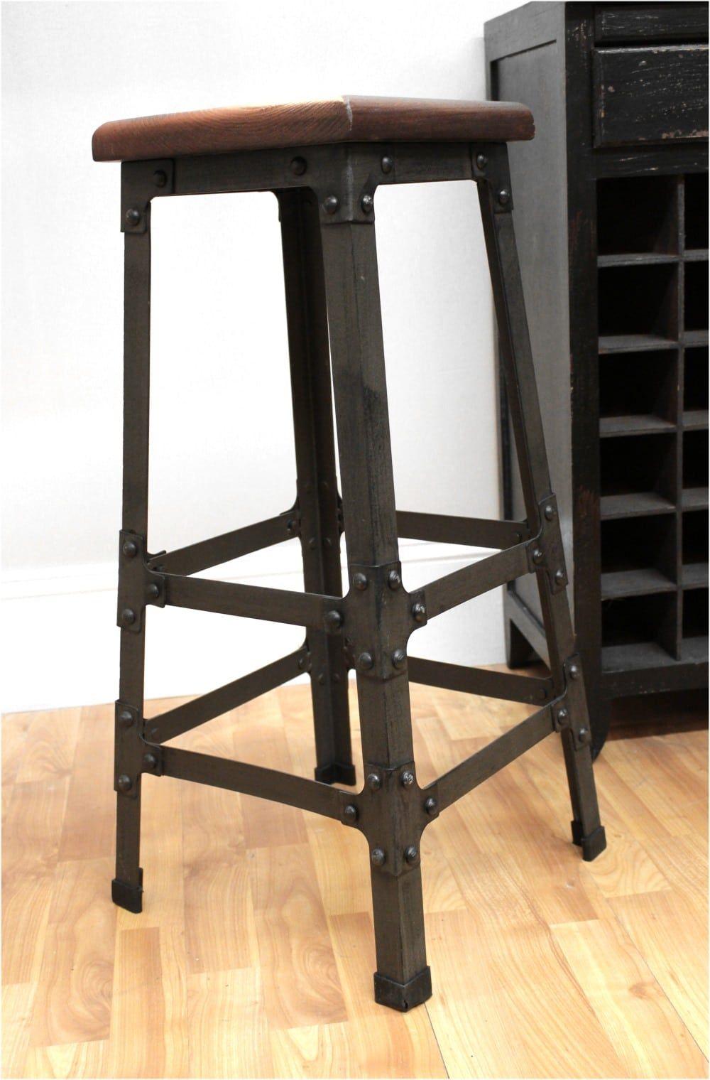 Bar Stool With Wooden Seat Amp Riveted Iron Legs Home Bar Furniture Or Business Sillas De Bar Muebles De Hierro Taburete