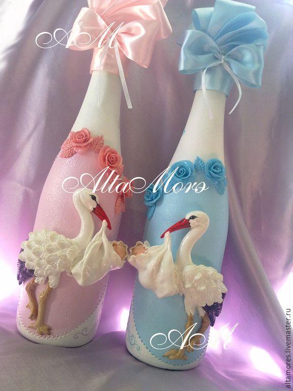 Бутылки на рождение ребенка своими руками