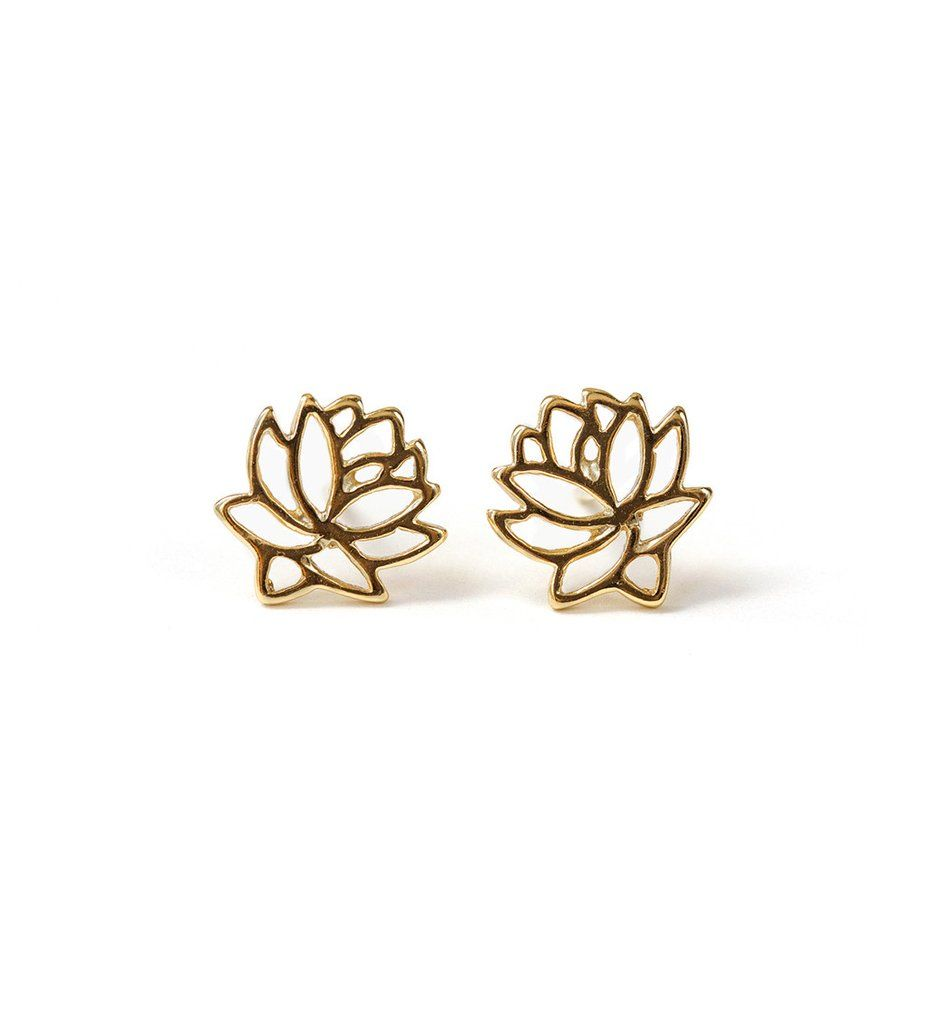 These 14k gold stud earrings feature a beautiful lotus flower design, known for its different symbolisms. Wear alone for a unique yet feminine look. DETAILS - 14K Gold over Sterling Silver - H 0.4 in