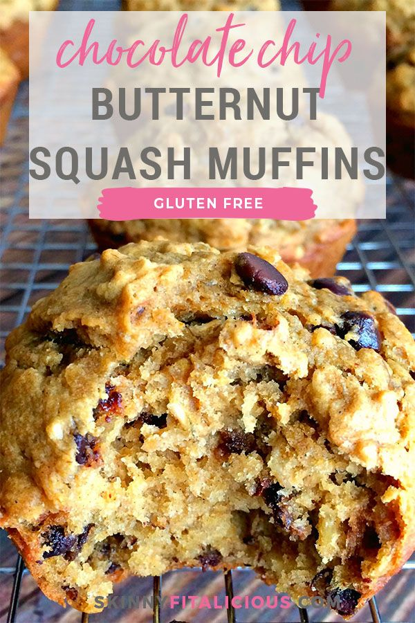 Chocolate Chip Butternut Squash Muffins are a healthy, gluten free treat!