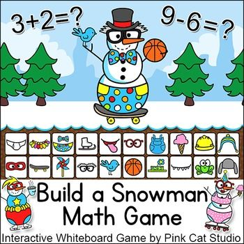 Winter Math Build a Snowman Addition and Subtraction Game | TpT Wish ...