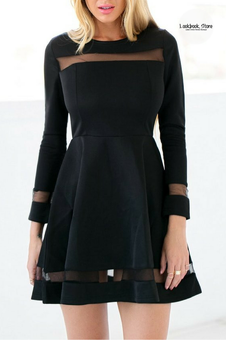 bedecf119a Throw on a bib necklace and a pair of platforms to go with this stunning  black mesh panel skater dress.