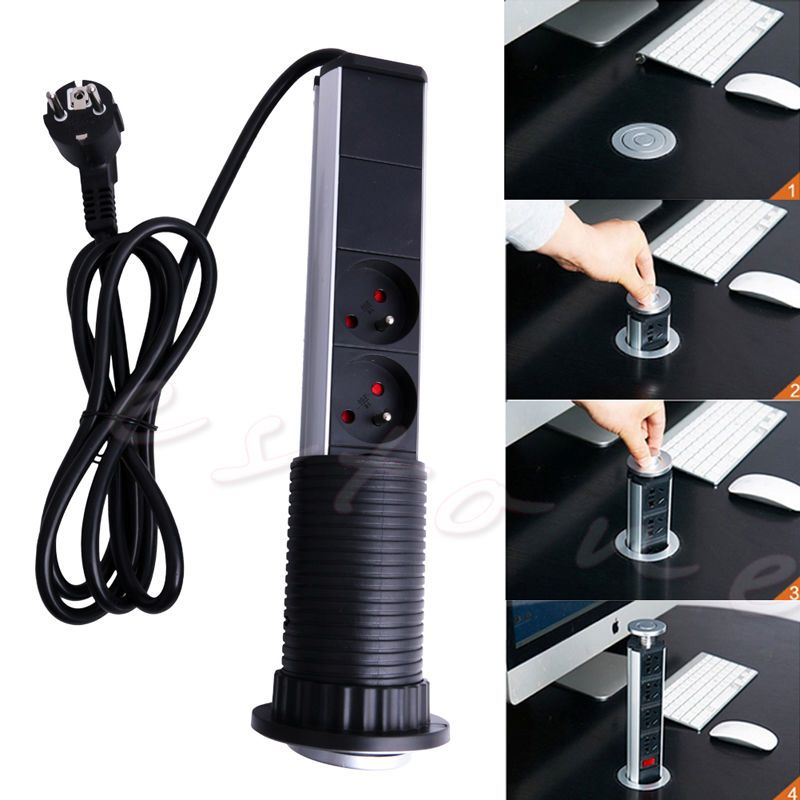 Electrical Outlet Kitchen Worktop Desk Pull Pop Up Socket Eu Au Uk Us Plug