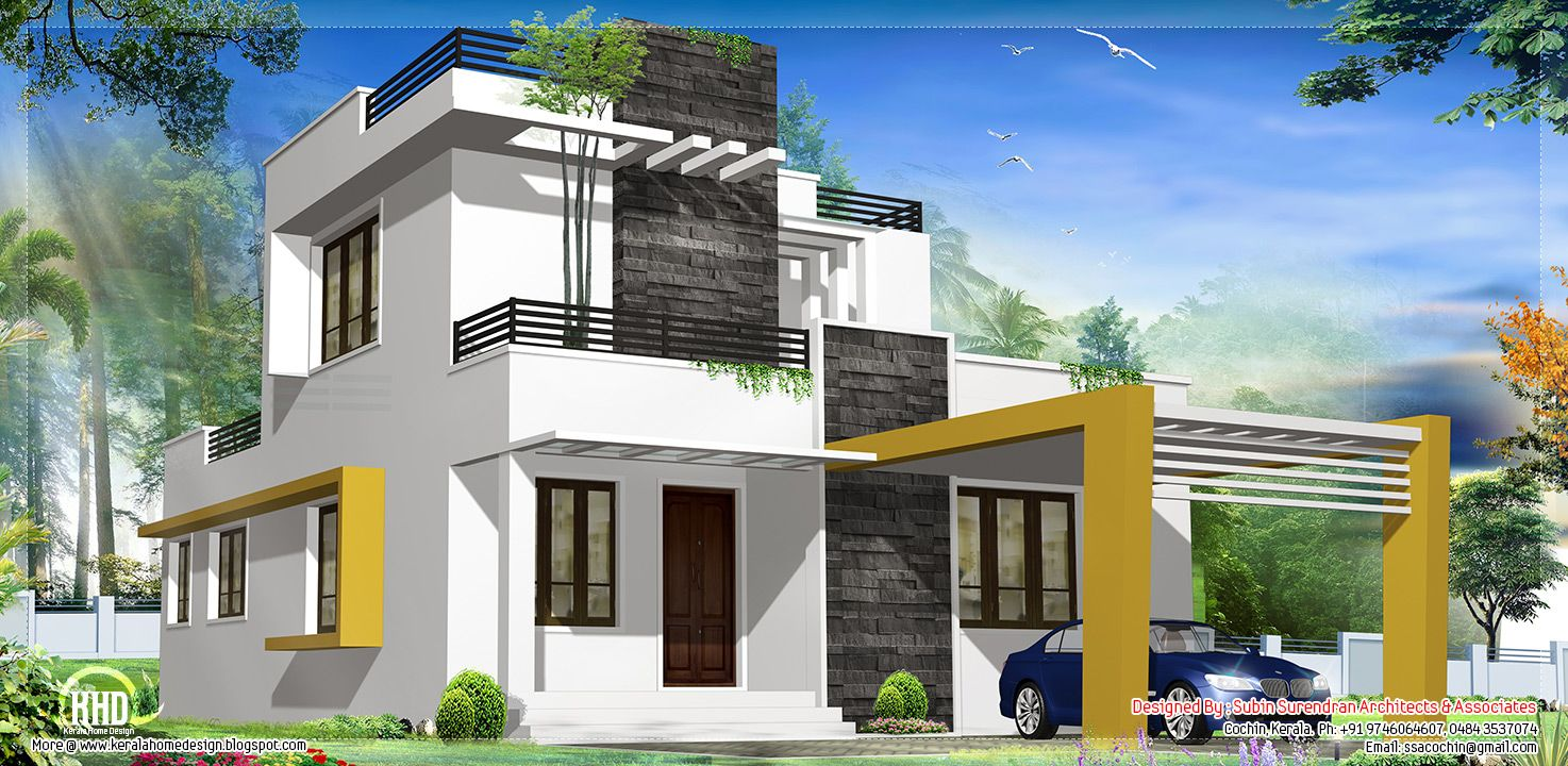 Floor plan and elevation of 2203 square feet 205 square for Modern house design single floor