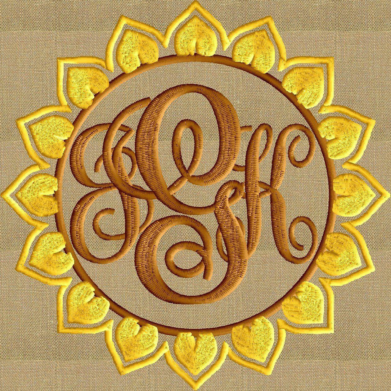 Sunflower Floral Font Frame Monogram Embroidery Design