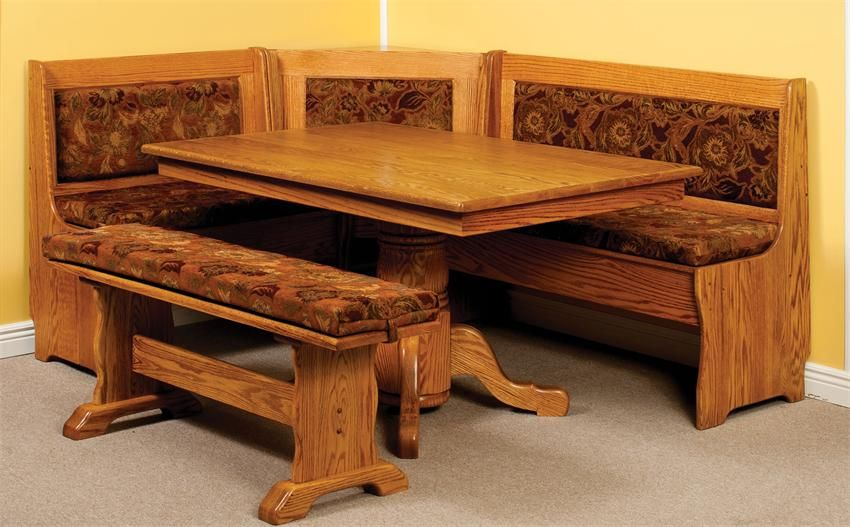 Amish Traditional Breakfast Nook Set With Storage And Pedestal Table Breakfast Nook Set