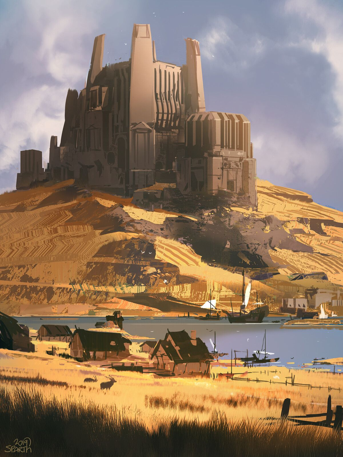 Pin By Bryan Galindo On Landscapes In 2020 Fantasy Landscape Perspective Drawing Architecture Environment Concept Art