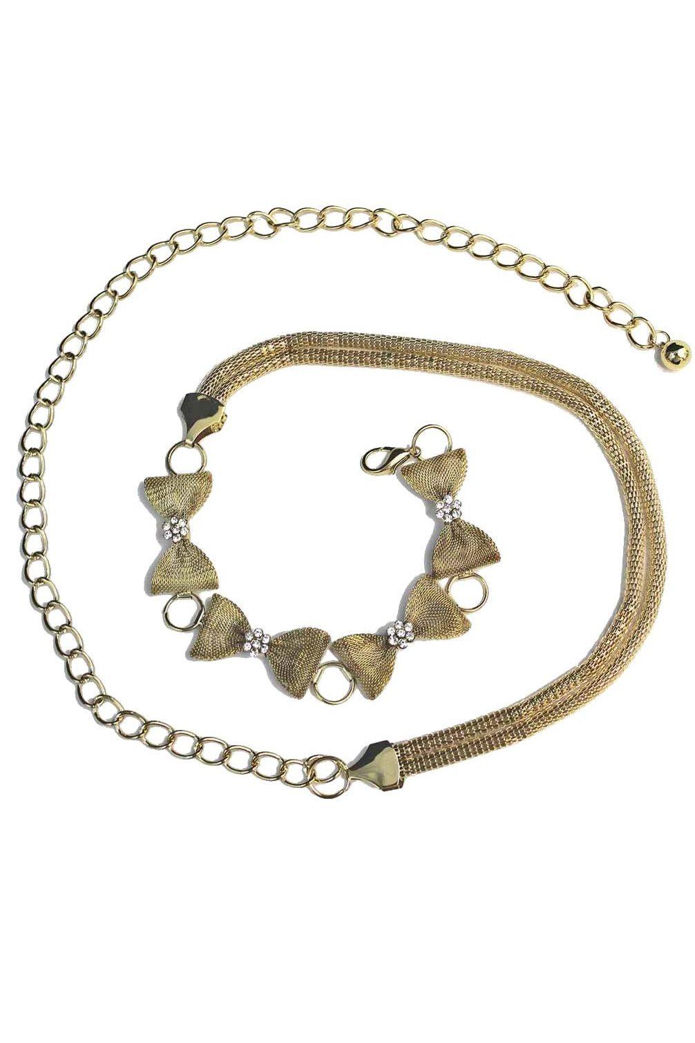 Rhinestone Crystal Rectangle Pattern Silver-tone Belly Chain Belt
