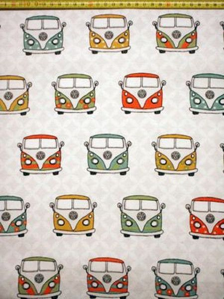 stoff grafische muster stoff vw bus hippie bus ein. Black Bedroom Furniture Sets. Home Design Ideas