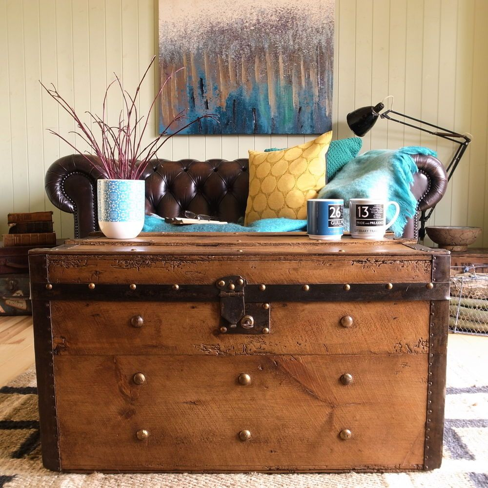 Victorian banded steamer trunk vintage stripped pine rustic chest victorian banded steamer trunk vintage stripped pine rustic chest coffee table geotapseo Choice Image