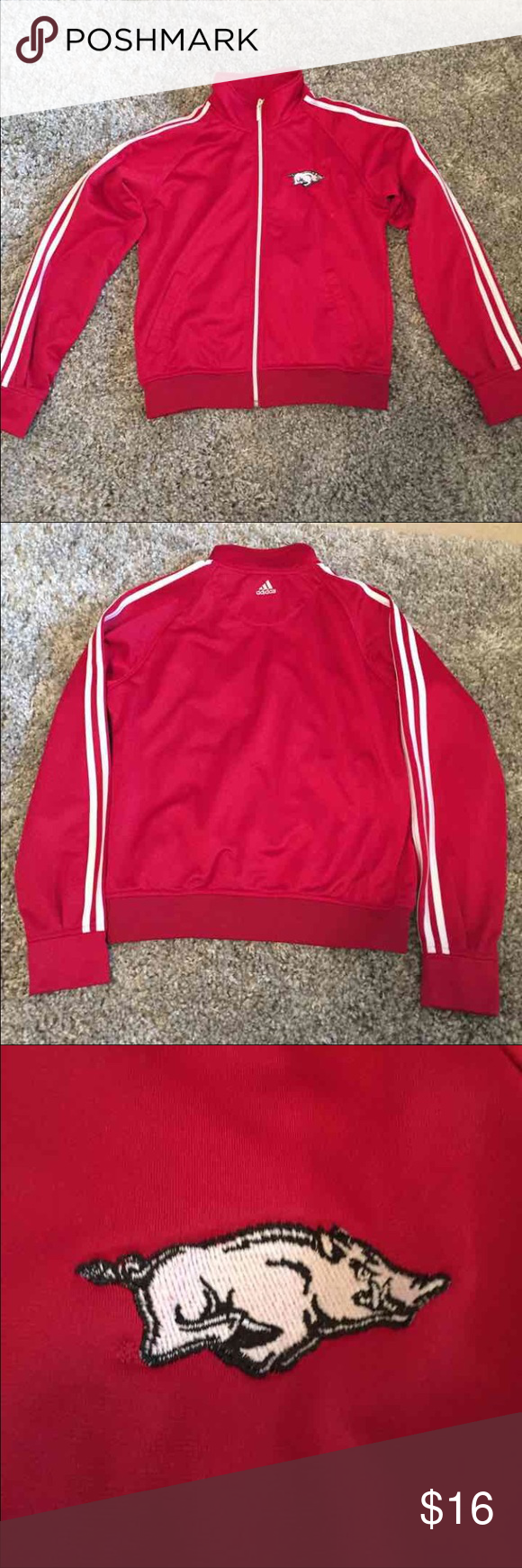 b319866ba9f6 Razorbacks Adidas Jacket Size Medium Adult medium Arkansas Razorbacks Track  Jacket only worn a few times