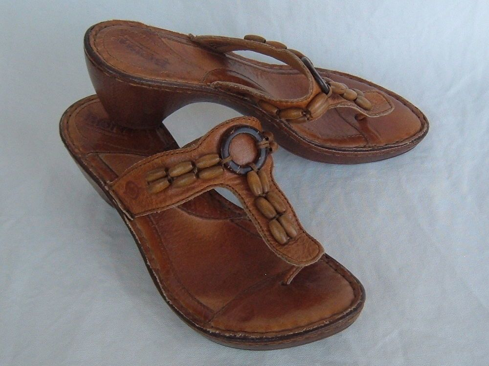 BORN Brown  Leather Beaded Sandals Thong Heel SIZE 6 US 36.5 EU - Good #Brn #PlatformsWedges