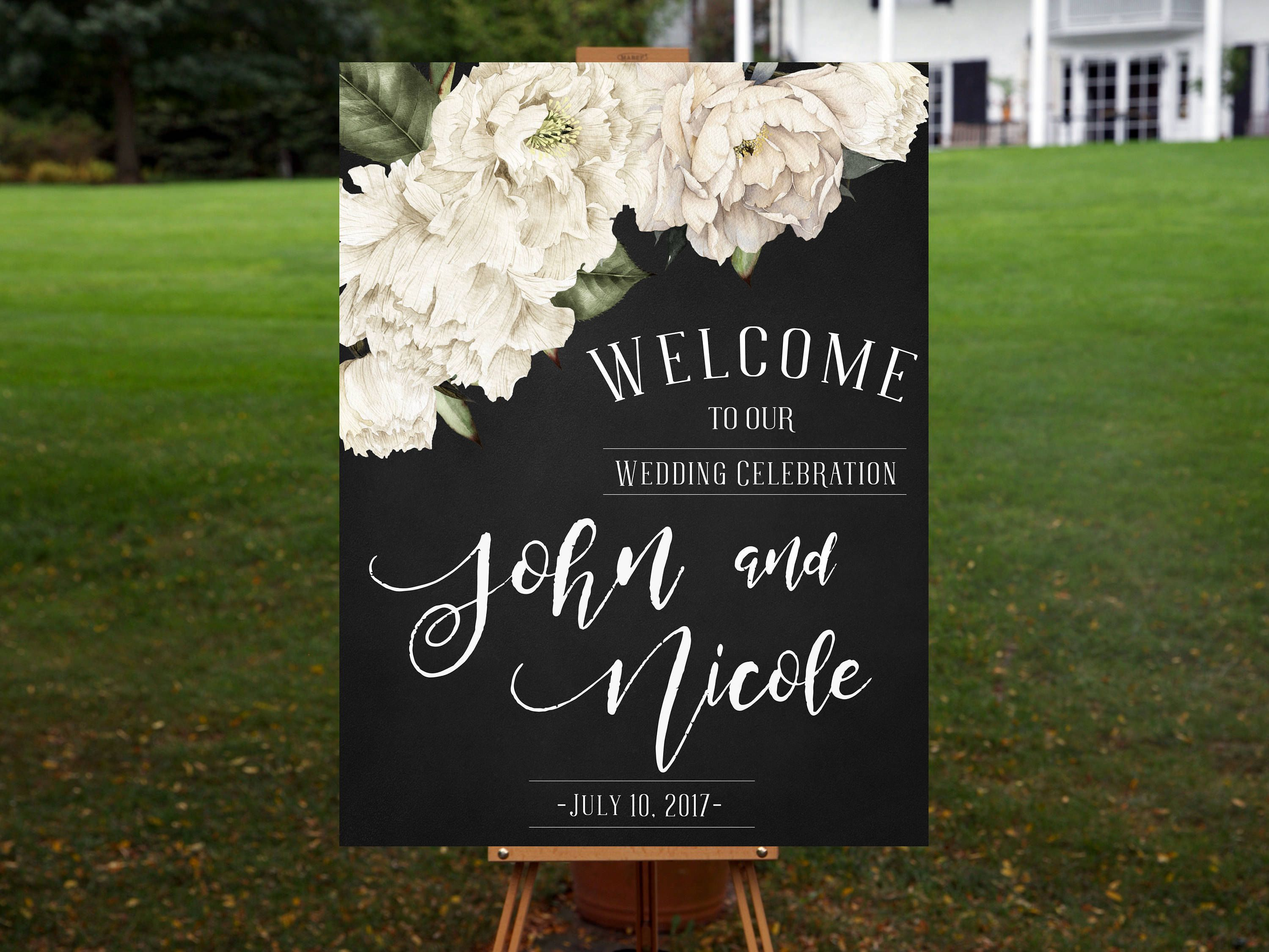 Rustic Celebration Floral Custom Wedding Welcome Sign//Print Wedding Decor