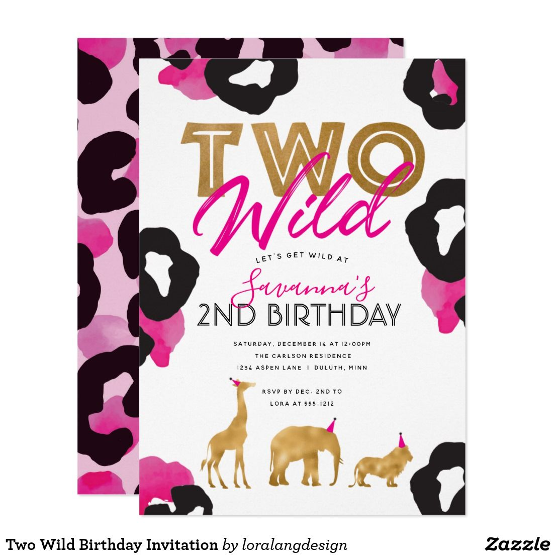 Two Wild Birthday Invitation Birthday