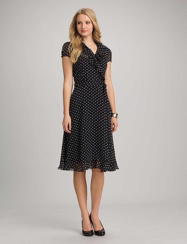 misses dresses work dresses ruffled polka dot dress from