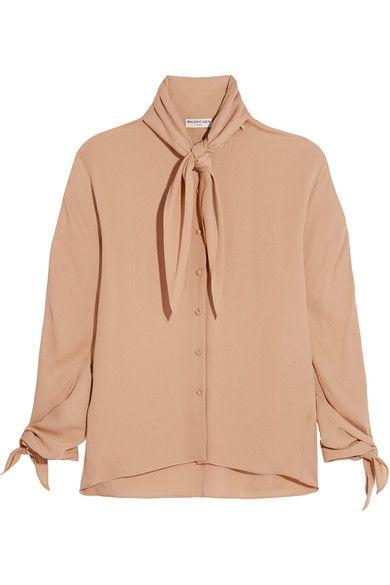 Balenciaga | Pussy-bow silk-georgette blouse | NET-A-PORTER.COM