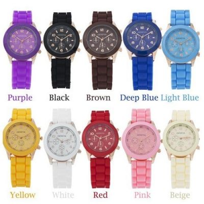 $3.11    15 Colors GENEVA Soft Silicone Band Quartz Movement Watch with Number Scale/Round Dial